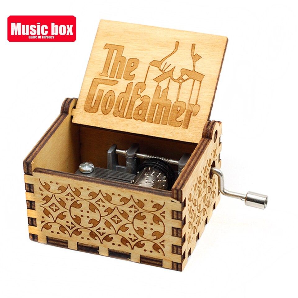 Лидер продаж деревянная ручка музыкальная шкатулка игра трон Пираты Кариб Звездные войны замок Inthe Sky Рождественский подарок - Цвет: Godfather
