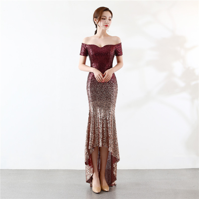 Off The Shoulder Gradient Sequined Evening Dress 2020 Sexy Etiquette Sequin Zipper Lady Elegant Cocktail Party Vestido De Noche