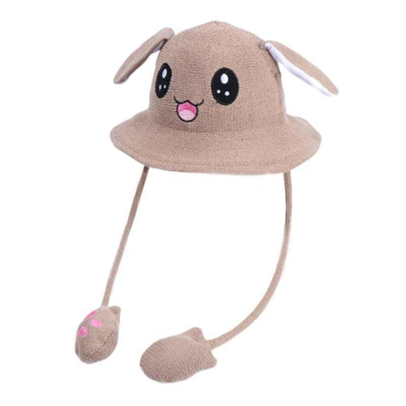 Enfants enfants oreilles de lapin mignon Animal seau chapeau enfant en bas âge Protection solaire large bord glands drôle mobile Airbag tricoté bonnet