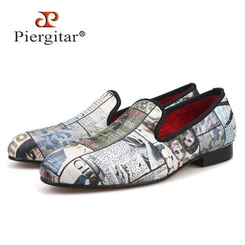 Piergitar 2019 Magazine-style Graffiti Cotton Fabric Men loafers with red comfortable cotton insole men causal shoes men's flats