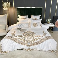 Luxury 4pcs High Quality 100% Cotton Bedding Set Solid Duvet Cover Set 1 Quilt Cover + 1 Flat Sheet + 2 Pillowcases Queen King