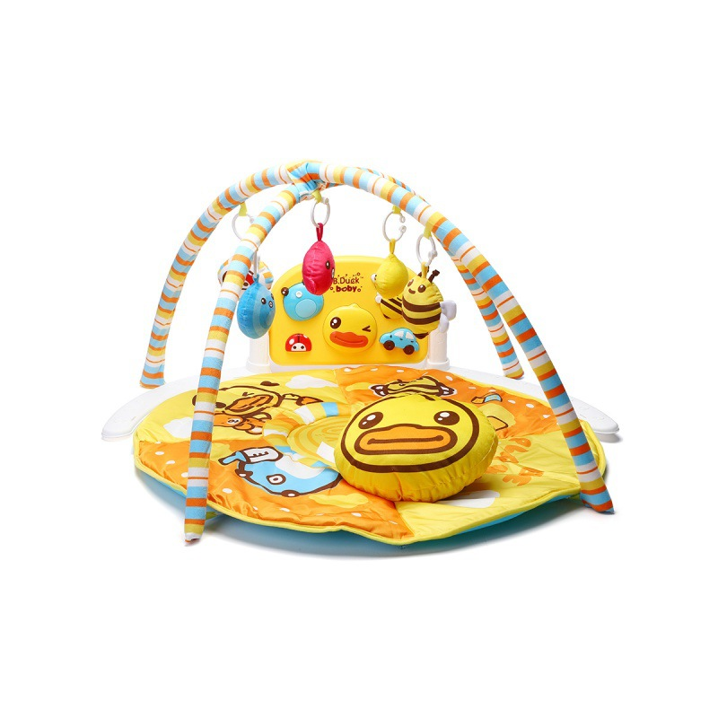 B. Duck Small Yellow Duck Baby Harmonium Music Fitness Rack Newborns 0-1-Year-Old Educational Toy Bed Bell Rattle