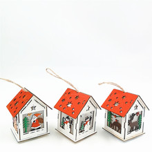 Innovative LED Christmas Tree Pendant Light Wooden House Ornaments With Light For Window Christmas Tree Living Room Decoration