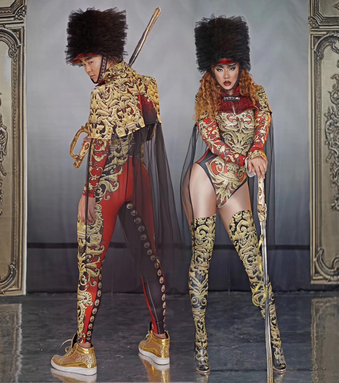 Atmospheric Gold Printed Jumpsuit For Men And Women Nightclub Bar Concert DJ Singer/dancer Costume