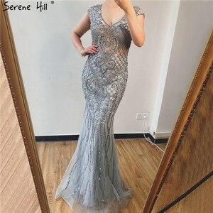 Image 3 - Serene tepe gri lüks v yaka Mermaid abiye tasarım 2020 Dubai tam elmas seksi örgün parti kıyafeti CLA70063