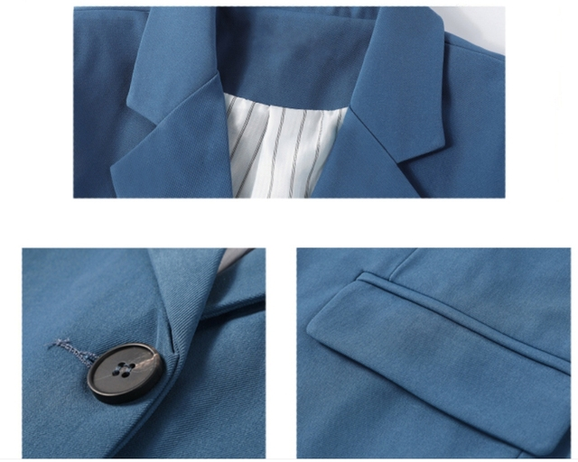 2021 Fashion Spring Autumn New Elegant Office Ladies Loose Single-breasted Blazer Women Solid Collar Suit Jackets Outwear Blue 5