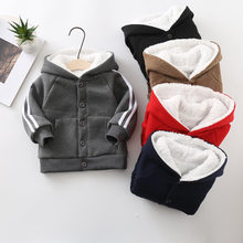 New winter sports 3-8 years old children boys and girls baby two-bar cardigan lambskin jacket plus velvet thick casual jacket(China)