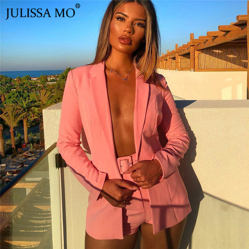 JULISSA MO Two Piece Sets Office Lady Suits Women Turn-down Collar Blazer Tops High Waist Shorts Autumn Formal Leisure Time Suit