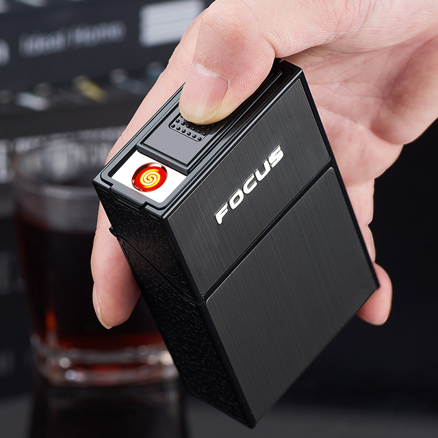 Portable Cigarette Case with Lighter 20pcs Cigarette Capacity Holder USB Rechargeable Electric Lighter Smoking Box Accessories 6