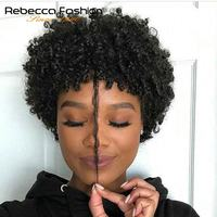 Rebecca Cheap Wholesale Blonde Short Afro Kinky Curly Wig 100% Human Hair Kinky Curly Wigs For Black Women 27# Color Light Brown