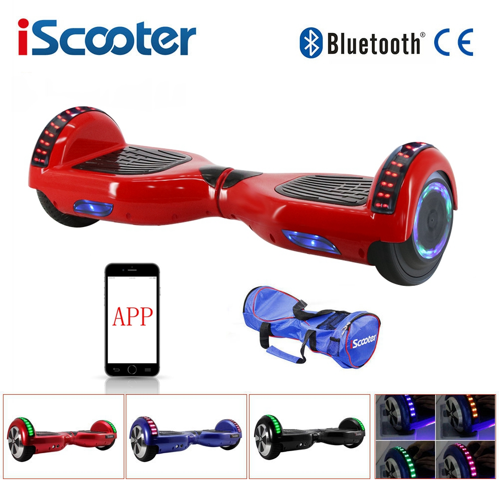 APP Control Electric Skateboard Bluetooth Hoverboard 6.5 Inch Smart Self Balance Steering-wheel 2 Wheel Standing Scooter