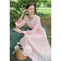AIGYPTOS Lace lace stitching wave point chiffon rose pink dress super fairy high waist long sleeve 2020 spring dress