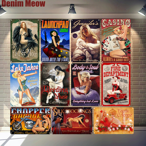 Pin Up Girls Metal Poster Body Soul Vintage Tin Signs Bar Club Cafe Garage Home Decor Beauty Magazine Wall Art Painting N330