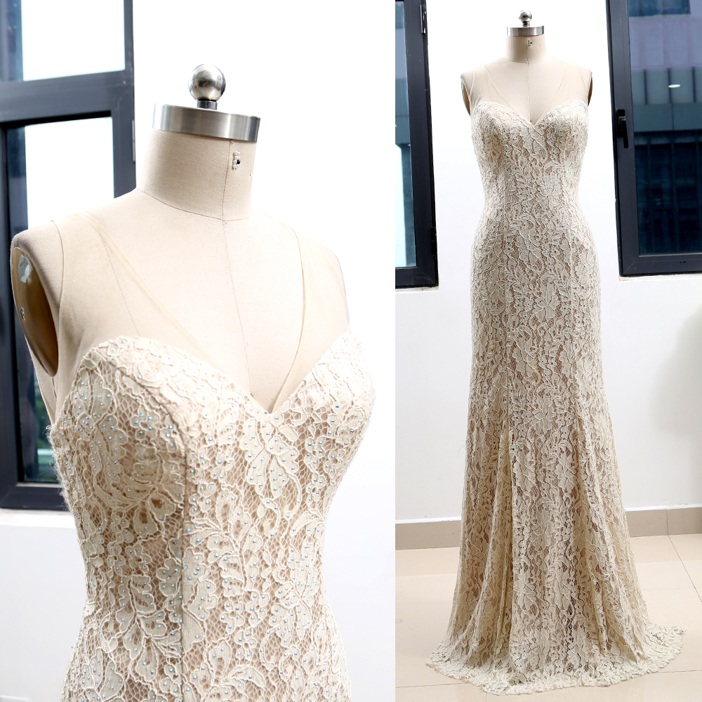 MACloth Ivory Sheath V Neck Floor-Length Long Crystal Lace   Prom     Dresses     Dress   L 263846 Clearance