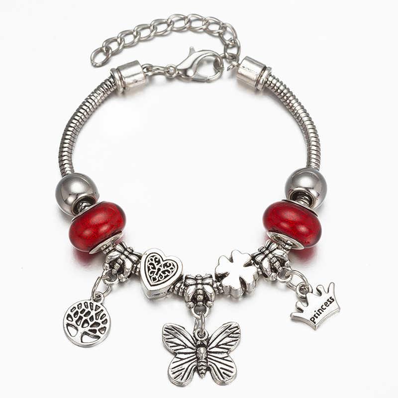ロマンチックな愛のブレスレット DIY 蝶と命の木のロッククリスタルフラワーペンダントビーズブレスレット女性ファインジュエリーラブギフト M2