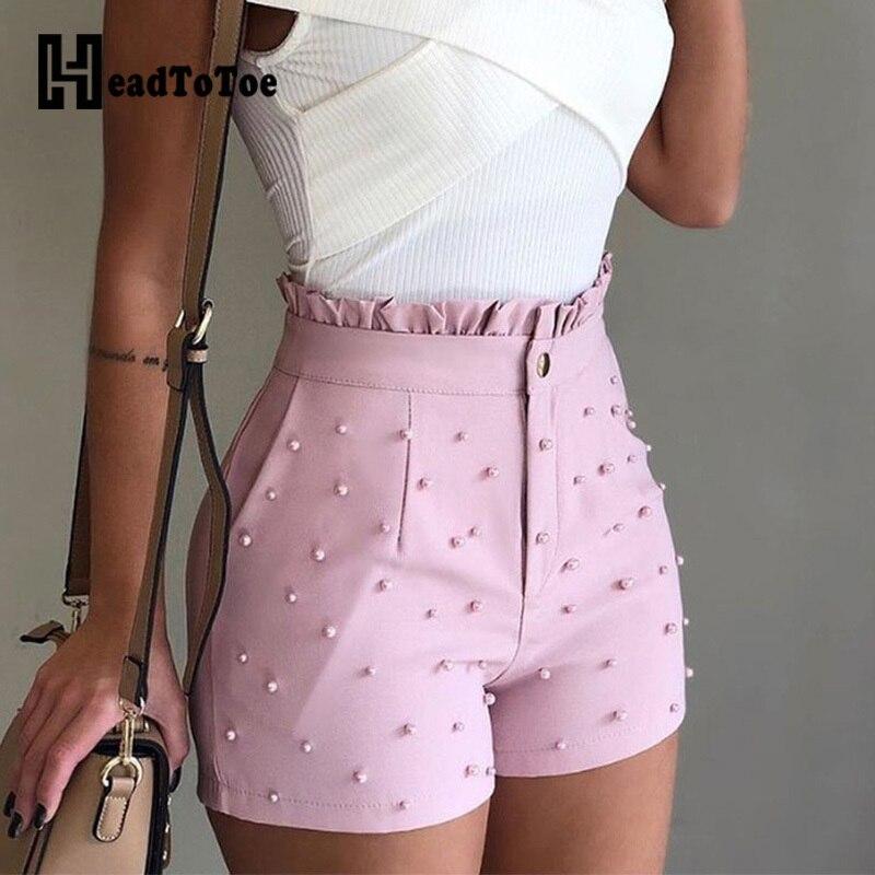 Women Summer High Waist Shorts Ladies Beading Frill Hem Casual Shorts Pantalones Cortos De Mujer