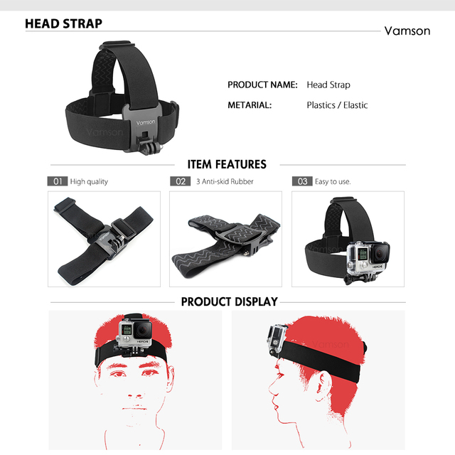 Vamson Accessories for GoPro Hero 9 8 7 6 Chest Strap Motorcycle Clamp Collection Box for Xiaomi Yi 4K for SJCAM for Eken VS153C 3