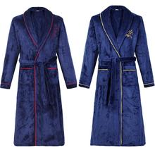 Sleepwear Kimono Bathrobe Nightwear Gown Couple Home-Clothes Male Winter Plus-Size Warm