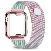 Funda y correa para Apple Watch, 40mm, 44mm, 38mm, 42mm, funda chapada + correa de Metal, pulsera de acero inoxidable iWatch 6 5 4 3 2 se