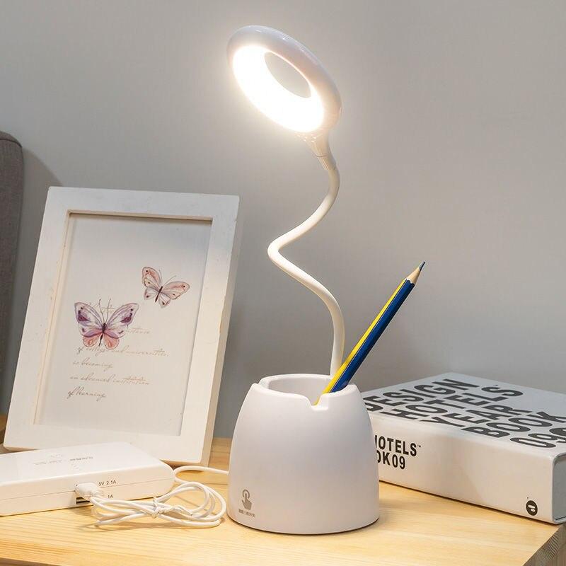 Настольная лампа для чтения с защитой глаз, светодиодсветодиодный офисная флексографская Настольная лампа с держателем для ручек, заряжае...