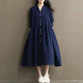 Pleated Cotton and Linen Bat-wing Maternity Dresses 1