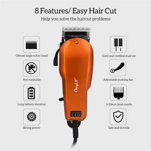 Image 2 - Ckeyin 220 240V Household Trimmer Professional Classic Haircut Corded Clipper for Men Cutting Machine with 4 Attachment Combs 40