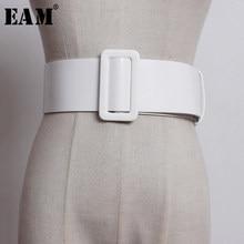 EAM – ceinture en cuir Pu blanc, boucle rectangulaire fendue, longue et large, personnalité femmes, nouvelle mode, tout-assorti, printemps 2021 1U232