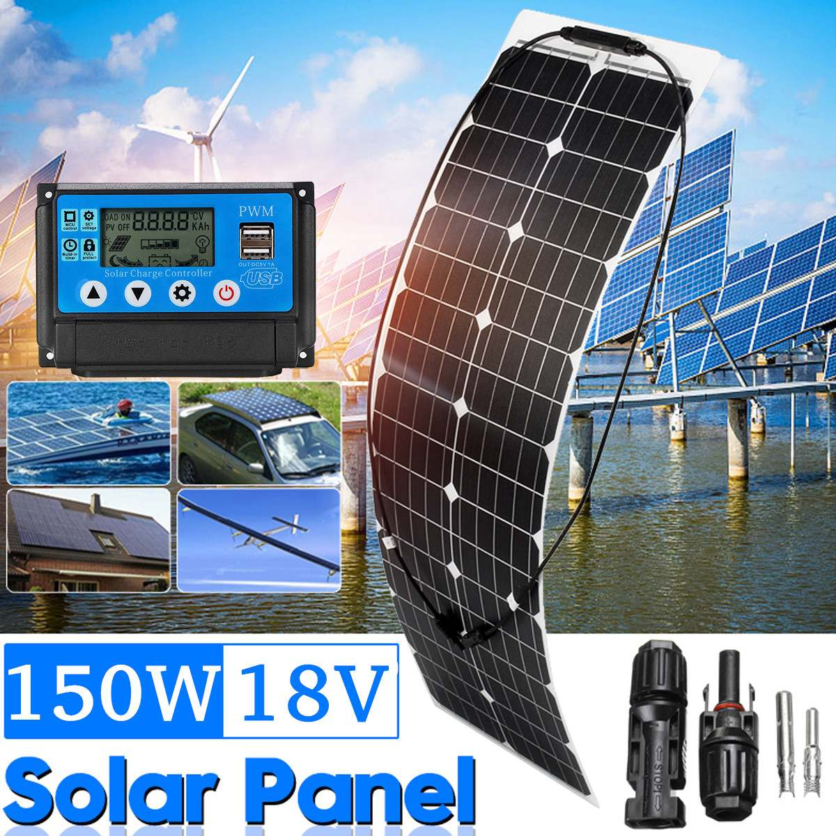150W 18V Solar Panel Monocrystalline Solar Cell DIY Module MC4 Cable + 10/20/30/40A/50A Controller For Outdoor Battery Charger