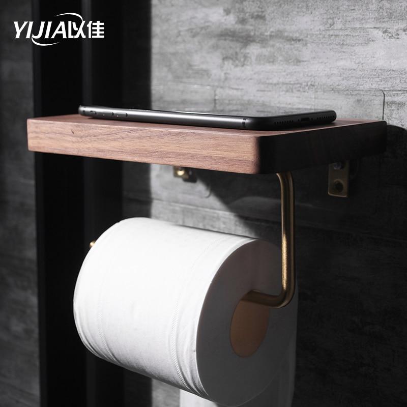Bathroom Shelves Brass Walnut Toilet Paper Holder Bathroom Hotel Roll Paper Tissue Hanging Rack Wooden Shelf Holder