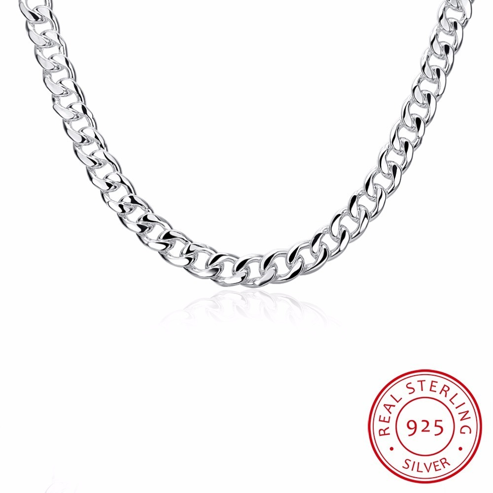 Lekani Men's Fine Jewelry 20'' Width 10mm Flat Necklace 925 Sterling Silver Fashion Charm Thick Side Necklace Colar De Prata