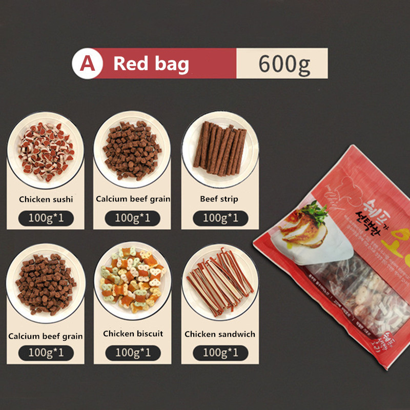 6 Bags of Pet Snacks Gift Package Total 600g Dog Snacks Pet Food Chicken Beef Molar Training Rewards Food