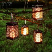 Waterproof Courtyard Light Solar Charge Hollow Retro Fake Flame Garden Decor Landscape Outdoor Led Hanging Lantern