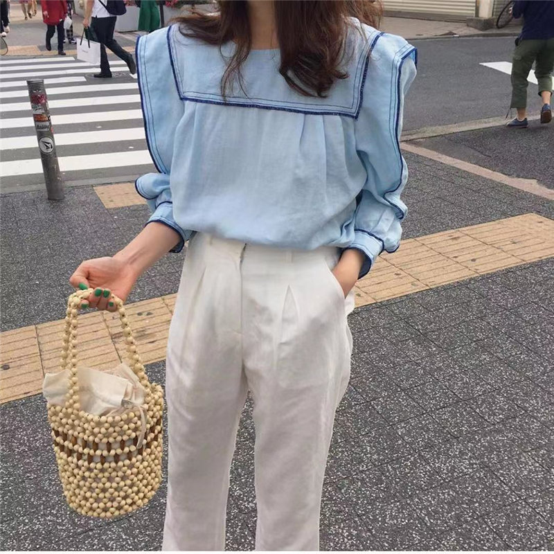Alien Kitty Chic Early Autumn Preppy Style Color-Hit Sweet Fashion Women Sailor Collar Tops Fresh Puff-Sleeved All-Match Shirts