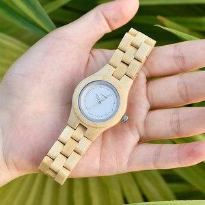 Image 5 - BOBO PÁSSARO Das Senhoras Relógios De Luxo De Madeira De Bambu Moda Únicas Mulheres Quartz Relógio de Pulso relogio feminino com Diamante