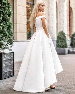 Image 4 - Lorie 2019 Boho Wedding Dress with Pocket  Hi Lo Bride Dresses Vestido de novia Satin Off The Shoulder Elegant Wedding Gown