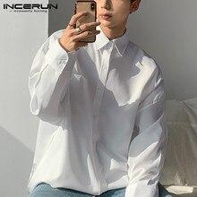 Dress Shirt Korean-Style Fashion Men Camisas Business Long-Sleeve Streetwear Loose INCERUN