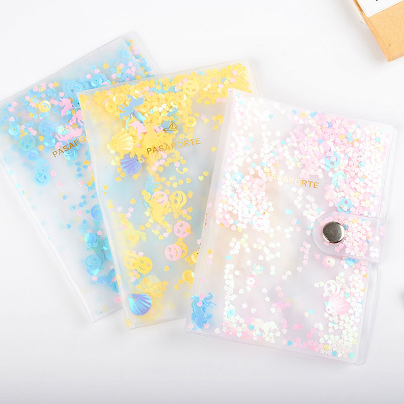 New Sequin Passport Covers Travel Accessories ID Bank Credit Card Bag Passport Business Holder Paillette Women PVC Wallet Case