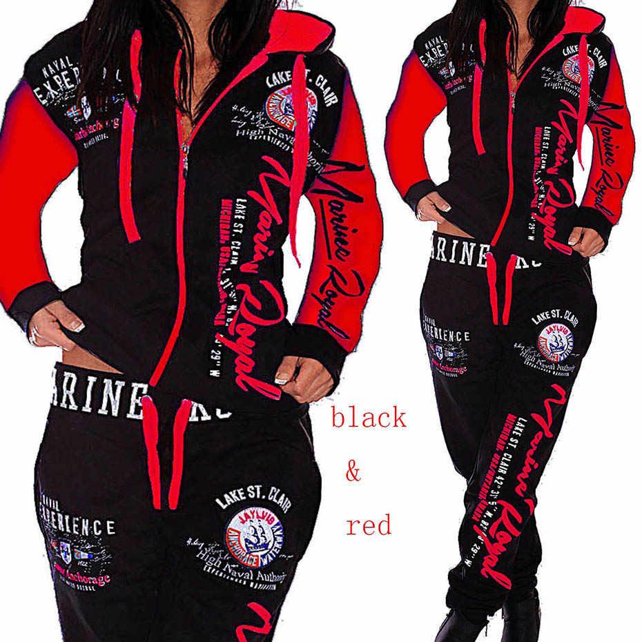 ZOGAA 2019 新レディースセット服パーカーパンツ 2 個セット暖かい女性プリント女性服スーツ女性トラックスーツ