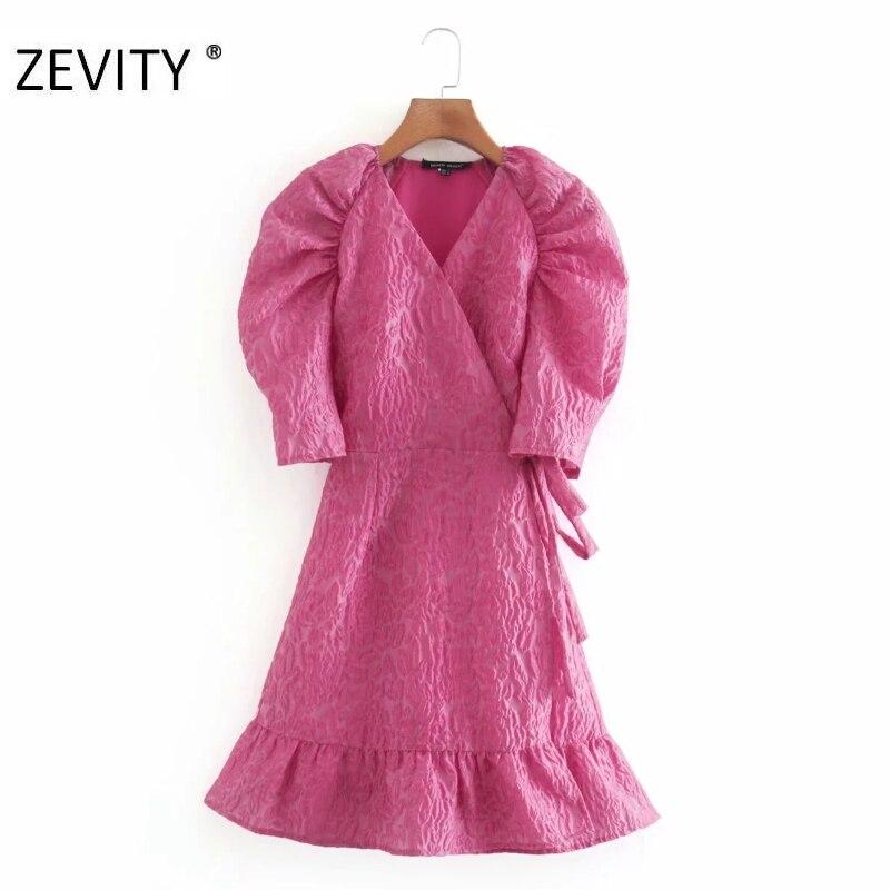 ZEVITY women cross v neck press print casual slim mini dress ladies puff sleeve lace bow tied vestido hem ruffles dresses DS4282