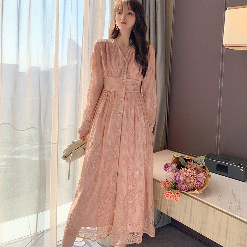 Fashion Women New Arrival Chiffon Cute Long Dress Casual Vintage High Quality Lace Perspective V-neck A-line Dress