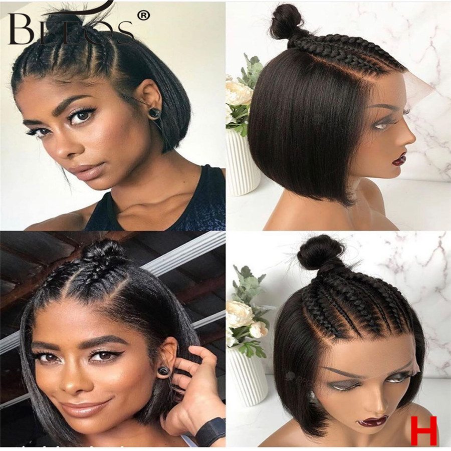 Beeos Straight Short Bob Wig 150% Brazilian Remy Hair 13*4 Lace Front Human Hair Wigs Natural Black Lace Front Wigs Pre Plucked