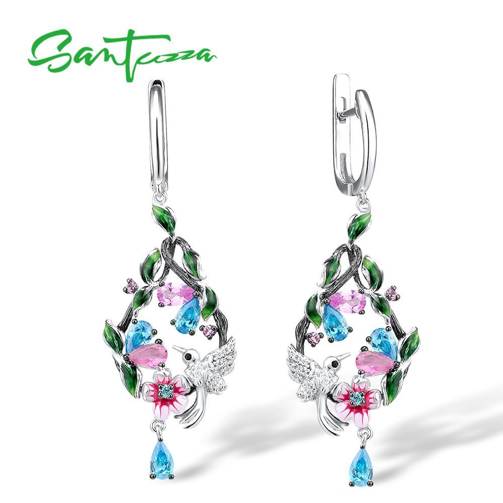 SANTUZZA Silver Earrings For Women Pure 925 Sterling Silver Elegant Flowers Bird Drop Earrings Fine Jewelry Handmade Enamel