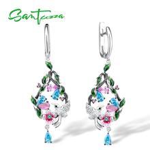 SANTUZZA Women's Earrings Pure 925 Sterling Silver Flower and Bird Drop Earrings