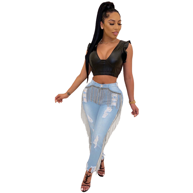 Adogirl Holes Tassel Washed Jeans Button Fly Highly Stretchy Skinny Pants Autumn Winter Women Fashion Casual Trousers Streetwear Pants & Capris Women Bottom ! Plus Size Women's Clothing & Accessories