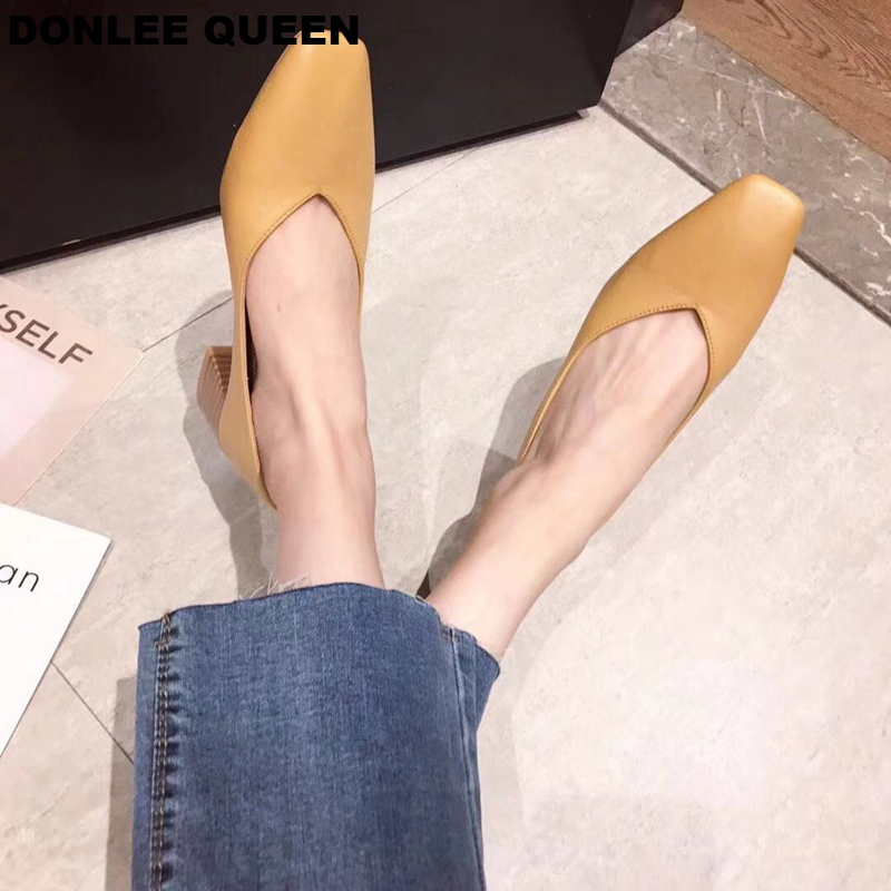 Image 4 - DONLEE QUEEN Thick Heel Shoes Women Pumps Square Toe Work Shoes Slip On High Heel Autumn Footwear Shallow Shoes zapatos de mujerWomens Pumps   -