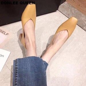 Image 4 - DONLEE ملكة سميكة كعب أحذية النساء مضخات مربع اصبع القدم أحذية عمل الانزلاق على أحذية عالية الكعب الخريف الأحذية الضحلة zapatos دي موهير
