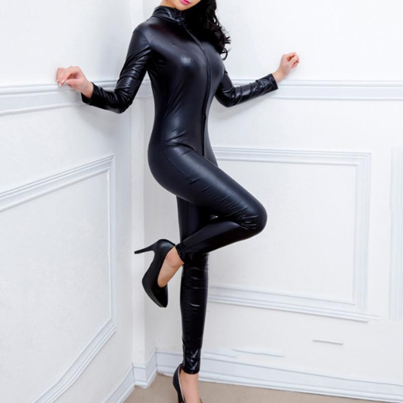 2019 New Sexy Women Patent Leather Jumpsuit Vinyl Latex Bondage Catsuit Zip Wetlook Leotard Bodysuit Skinny Sexy Jumpsuits