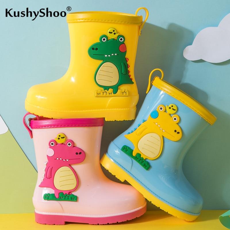 KushyShoo CHILDREN'S Rain Boots Rainy Day Shoe Cartoon Dinosaur Online Celebrity Shoes 2020 Spring BOY'S Girls Rain Boots