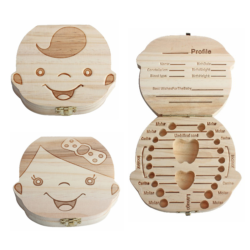 Baby Organizer Dental Teeth Box Milk Souvenir Tooth Wooden Container Save Collecting Teether Wood Storage Boxes For Boy Girl