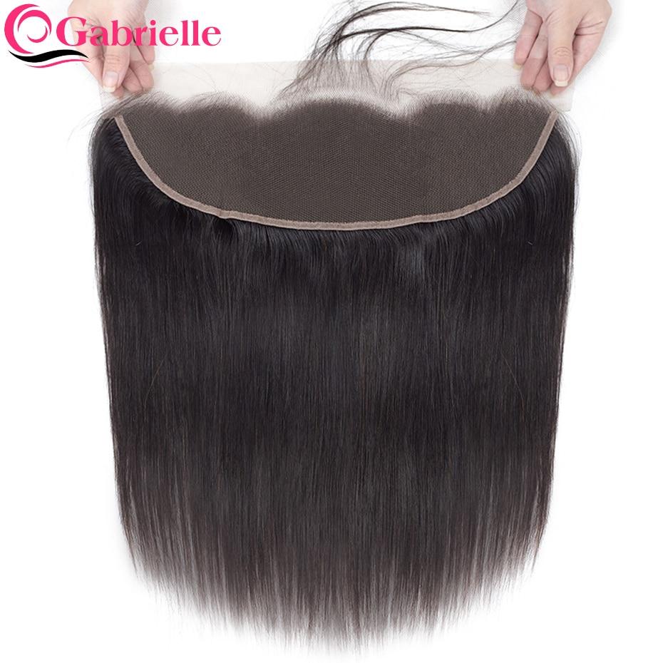 Прозрачные фронтальные бразильские прямые волосы с фронтальной застежкой на сетке 13x4, человеческие волосы среднего размера, коричневые шв...